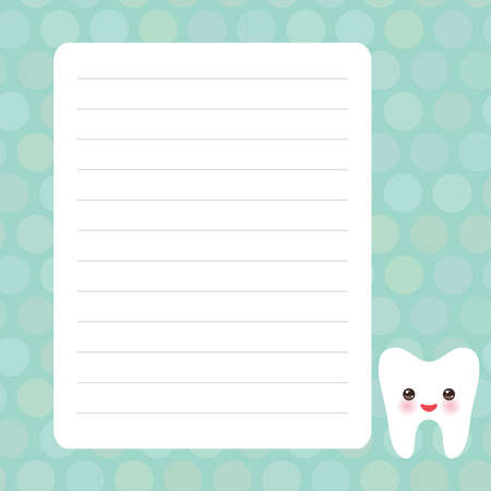 Card design with Kawaii Smiling tooth with eyes blue mint pastel colors polka dot lined page notebook, template, blank, planner background. Vector illustration