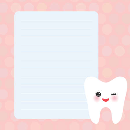 Card design with Kawaii Smiling tooth with eyes pink blue pastel colors polka dot lined page notebook, template, blank, planner background. Vector illustration