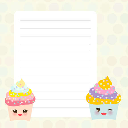 Card design with Kawaii Cupcake, muffin with beige pastel colors polka dot lined page notebook, template, blank, planner background. Vector illustration