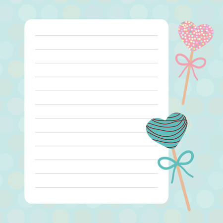 Card design with Kawaii Sweet Cake pops hearts with bow pink blue mint pastel colors polka dot lined page notebook, template, blank, planner background. Vector illustration Çizim