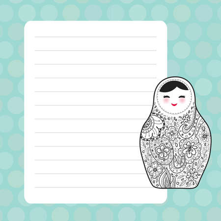Card design with Kawaii Russian doll matrioshka Babushka sketch smiling face with pink cheeks, blue pastel colors polka dot lined page notebook, template, blank, planner background. Vector illustration