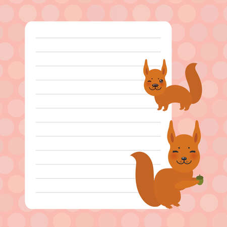 Card design with Kawaii squirrel, pink pastel colors polka dot lined page notebook, template, blank, planner background. Vector illustration
