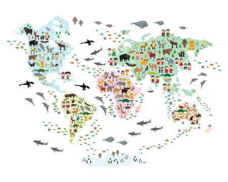 Cartoon animal world map for children and kids, back to schhool. Animals from all over the world white continents islands isolated on white background of ocean and sea. Scandinavian decor. Vector illustration