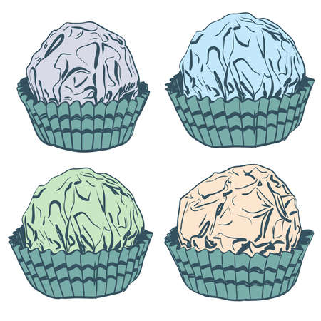 Card banner template, pattern Candy chocolate truffles in foil and paper cup. Drawing by hand sketch doodles. beige green blue gray isolated on white background. Vector illustration