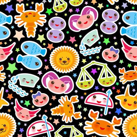 Aries, Taurus, Gemini, Cancer, Leo, Virgo, Libra, Scorpio, Sagittarius, Capricorn, Aquarius and Pisces Seamless pattern Funny Kawaii zodiac sign, astrological stikers, black background. Vector illustration Illustration