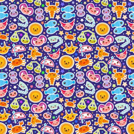 Aries, Taurus, Gemini, Cancer, Leo, Virgo, Libra, Scorpio, Sagittarius, Capricorn, Aquarius and Pisces Seamless pattern Funny Kawaii zodiac sign, astrological stikers, blue purple background. Vector illustration