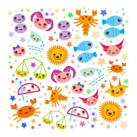Aries, Taurus, Gemini, Cancer, Leo, Virgo, Libra, Scorpio, Sagittarius, Capricorn, Aquarius and Pisces. Card banner Funny Kawaii zodiac sign, astrological stikers, white background. Vector illustration Illustration
