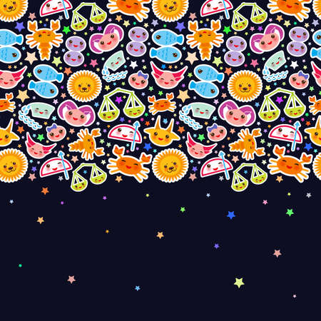 Aries, Taurus, Gemini, Cancer, Leo, Virgo, Libra, Scorpio, Sagittarius, Capricorn, Aquarius and Pisces. Card banner Funny Kawaii zodiac sign, astrological stikers, copy space, black background. Vector illustration Illustration