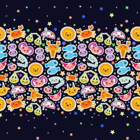 Aries, Taurus, Gemini, Cancer, Leo, Virgo, Libra, Scorpio, Sagittarius, Capricorn, Aquarius and Pisces. Card banner Funny Kawaii zodiac sign, astrological stikers, copy space, black background. Vector illustration Illusztráció