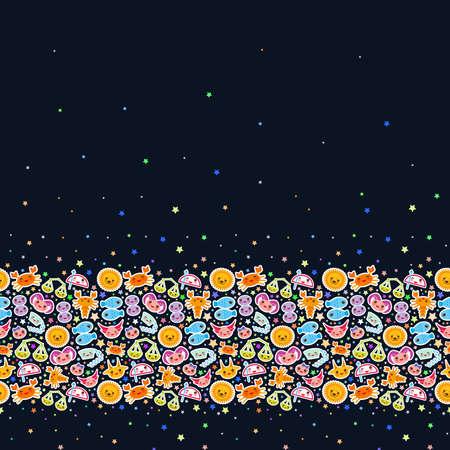 Ariete, Toro, Gemelli, Cancro, Leone, Vergine, Bilancia, Scorpione, Sagittario, Capricorno, Acquario e Pesci. Banner di carta Divertente segno zodiacale Kawaii, adesivi astrologici, spazio copia, sfondo nero. Illustrazione vettoriale