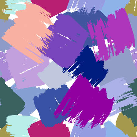 Scandinavian Abstract grunge texture Seamless pattern paint strokes geometric background print, blue beige lilac pink white olive camouflage. ornament retro style. for fabrics, wallpapers. Vector illustration
