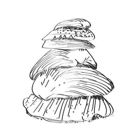 seashell stack, pyramid sketch, black contour isolated on white background. simple art. Vector illustration
