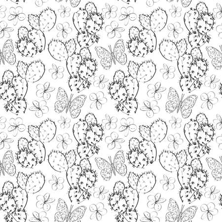 Seamless pattern cactus with flowers butterflies sketch, black contour isolated on white background. summer simple ornament, Can be used for Gift wrap, fabrics, wallpapers. Vector illustration