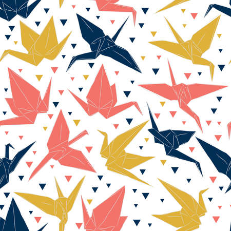 Japanese Origami paper cranes sketch seamless pattern, symbol of happiness, luck and longevity, blue coral mustard yellow on white background. Can be used for Gift wrap, fabrics, wallpapers. Vector illustration