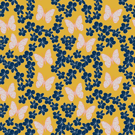 Seamless pattern plumeria flowers butterflies sketch, white pink blue, contour on gold mustard yellow background. simple ornament, Can be used for Gift wrap, fabrics, wallpapers. Vector illustration Foto de archivo - 130550046