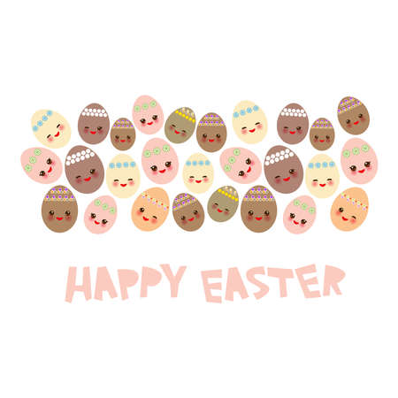 Happy Easter greeting card banner template design. Kawaii colorful orange pink yellow brown cute funny egg with pink cheeks and winking eyes, pastel colors on white background. Vector illustration Illustration