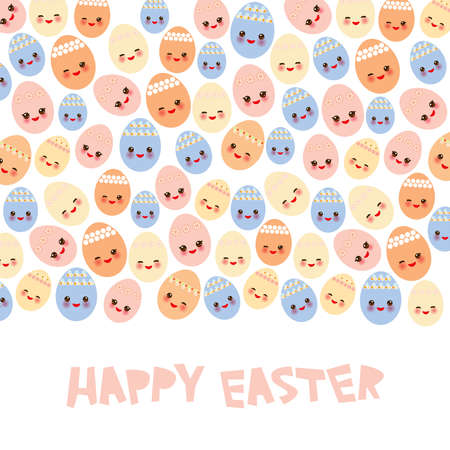 Happy Easter greeting card banner template design. Kawaii colorful blue orange pink yellow cute funny egg with pink cheeks and winking eyes, pastel colors on white background. Vector illustration