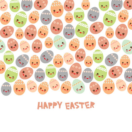 Happy Easter greeting card banner template design. Kawaii colorful blue green orange pink blue lilac cute funny egg with pink cheeks and winking eyes, pastel colors on white background. Vector illustration Illustration