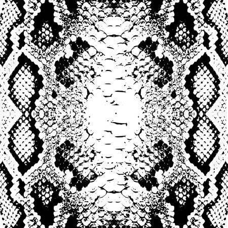 Trama di squame di pelle di serpente. Modello senza cuciture nero isolato su sfondo bianco. ornamento semplice, può essere utilizzato per confezioni regalo, tessuti, sfondi. Illustrazione vettoriale