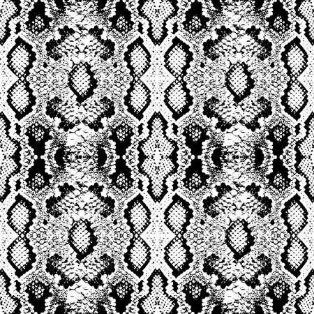 Schlangenhaut skaliert Textur. Nahtloses Musterschwarz lokalisiert auf weißem Hintergrund. Einfaches Ornament, Modedruck und Trend der Saison Kann für Geschenkpapier, Stoffe, Tapeten verwendet werden. Vektor-Illustration