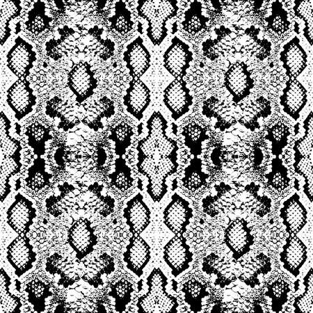 Trama di squame di pelle di serpente. Modello senza cuciture nero isolato su sfondo bianco. ornamento semplice, stampa di moda e tendenza della stagione Può essere utilizzato per confezioni regalo, tessuti, carte da parati. Illustrazione vettoriale