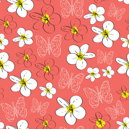 Seamless pattern with plumeria flowers butterflies sketch, black contour pink coral yellow white background. simple ornament, Can be used for Gift wrap, fabrics, wallpapers. Vector illustration Vector Illustration