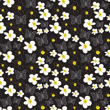 Modèle sans couture avec croquis de papillons de fleurs de plumeria, fond blanc jaune noir. ornement simple, peut être utilisé pour les emballages cadeaux, les tissus, les papiers peints. Illustration vectorielle Vecteurs
