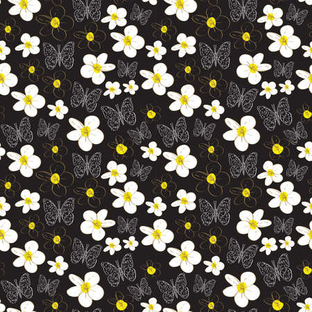Seamless pattern with plumeria flowers butterflies sketch, black yellow white background. simple ornament, Can be used for Gift wrap, fabrics, wallpapers. Vector illustration