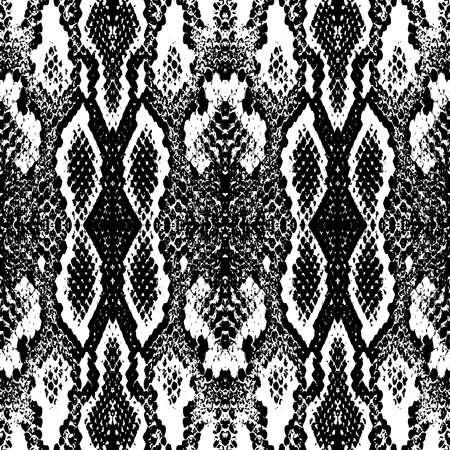 Snake skin scales texture. Seamless pattern black isolated on white background. simple ornament, Can be used for Gift wrap, fabrics, wallpapers. Vector illustration Vektorgrafik