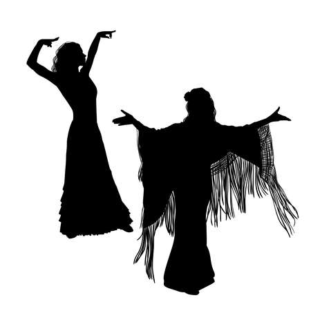 Woman in long dress stay in dancing pose. flamenco dancer, spanish. beautiful female profile black silhouette Isolated on white background. Vector illustration  イラスト・ベクター素材