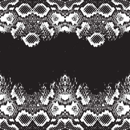 Snake skin scales texture. Seamless pattern black isolated on white background. simple ornament, fashion print and trend of the season Can be used for Gift wrap, fabrics, wallpapers. Vector illustration Illustration