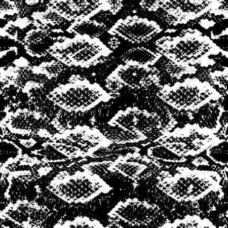 Schlangenhaut skaliert Textur. Schwarz-weißer Hintergrund des nahtlosen Musters. Einfaches Ornament, Modedruck und Trend der Saison Kann für Geschenkpapier, Stoffe, Tapeten verwendet werden. Vektor-Illustration