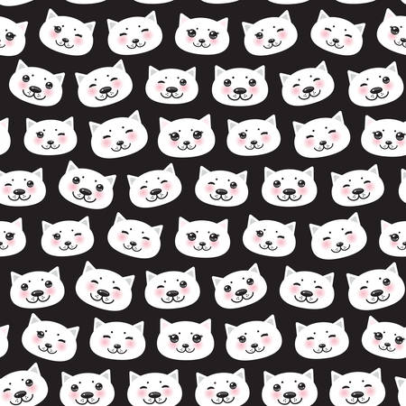 Seamless pattern funny Kawaii white cat face with pink cheeks, black background. Can be used for greeting card design, Gift wrap, fabrics, wallpapers. Vector illustration Banco de Imagens - 139666224
