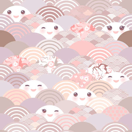 seamless pattern Kawaii with pink cheeks and winking eyes simple Nature trend background with japanese sakura flower, rosy pink Cherry, wave circle pattern pink lilac gray coral pastel colors. Vector illustration