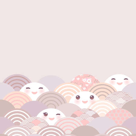 Card banner, baby shower. Kawaii with pink cheeks and winking eyes simple Nature trend background with japanese sakura flower, rosy pink Cherry, wave circle pattern pink lilac gray coral. Vector illustration