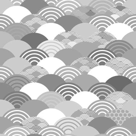 Seigaiha or seigainami literally means wave of the sea. seamless pattern abstract scales simple Spring Nature background with japanese circle Gray white colors. Vector illustration