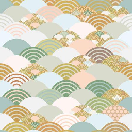 Seigaiha or seigainami literally means wave of the sea. seamless pattern abstract scales simple Spring Nature background with japanese circle Blue green white beige brown pink gray colors. Vector illustration