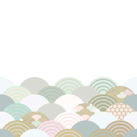 spring and summer wave blue grey white green pink brown colors card banner design for text abstract scales simple Nature background with japanese circle pattern space for text. Vector illustration 向量圖像