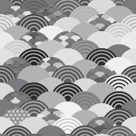 Seigaiha or seigainami literally means wave of the sea. seamless pattern abstract scales simple Spring Nature background with japanese circle Gray white black colors. Vector illustration Çizim