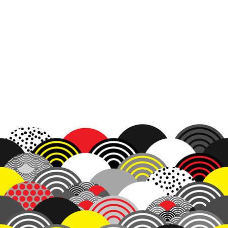 Seigaiha wave grey black red yellow white colors abstract scales simple Nature background with japanese circle pattern copy space. Can be used for greeting card design, frame for your text. Vector illustration
