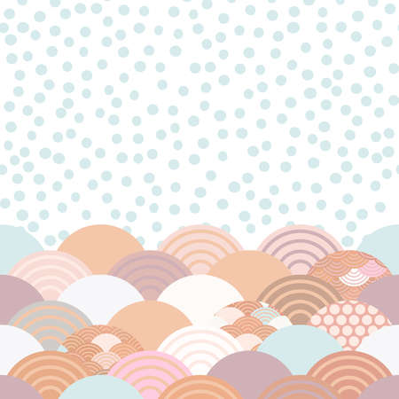 wave white blue grey lilac pink terracotta colors card banner design for text, rain polka dot, abstract scales simple Nature background with japanese circle pattern space for text. Vector illustration