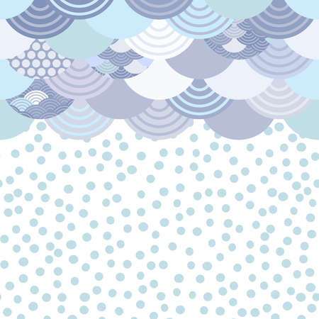 wave white blue grey green colors card banner design for text, rain polka dot, abstract scales simple Nature background with japanese circle pattern space for text. Vector illustration