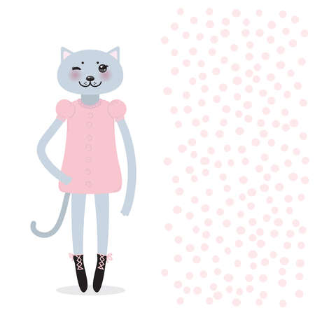 funny Kawaii cat girl in dress with pink cheeks, cartoon pet gray black isolated on white dot background. Can be used for greeting card design, for your text, fashion print for baby clothes. Vector illustration