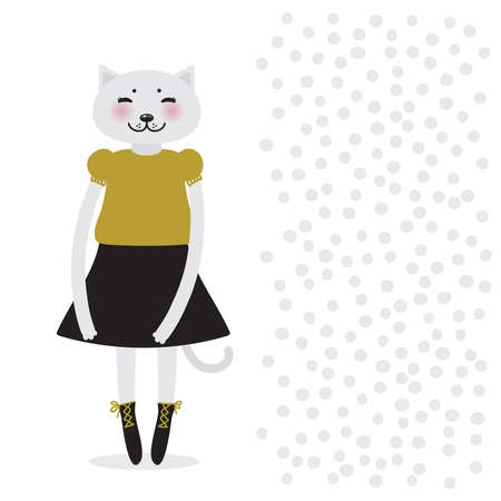 funny Kawaii cat girl in dress, pink cheeks, cartoon pet black gray mustard isolated on white background. Can be used for greeting card design, for your text, fashion print for baby clothes. Vector illustration Ilustração