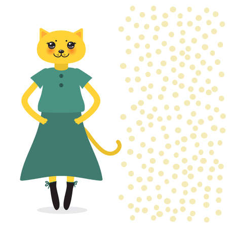 funny Kawaii cat girl in dress with pink cheeks, cartoon pet yellow green isolated on white dot background. Can be used for greeting card design, for your text, fashion print for baby clothes. Vector illustration