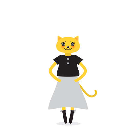 funny Kawaii cat girl in dress with pink cheeks, cartoon pet yellow gray black isolated on white background. Can be used for greeting card design, for your text, fashion print for baby clothes. Vector illustration