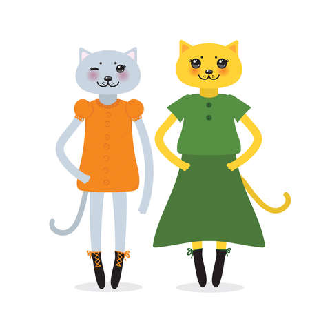 funny Kawaii cat girl in dress with pink cheeks, cartoon pet gray green black isolated on white background. Can be used for greeting card design, for your text, fashion print for baby clothes. Vector illustration