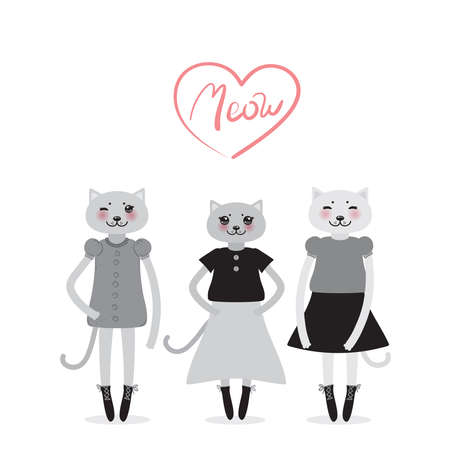 funny Kawaii cat girl in dress with pink cheeks, cartoon pet gray black isolated on white background. Can be used for greeting card design, for your text, fashion print for baby clothes. Vector illustration Illustration