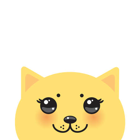 funny Kawaii Orange yellow cat face with pink cheeks, pastel colors isolated white background. Can be used for greeting card design, frame for your text. Vector illustration