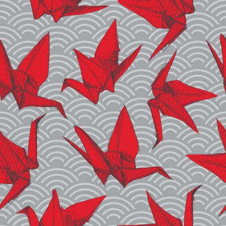 Origami red paper cranes sketch seamless pattern. burgundy maroon line on Gray Nature oriental background with japanese wave circle. Can be used for Gift wrap, fabrics, wallpapers. Vector illustration